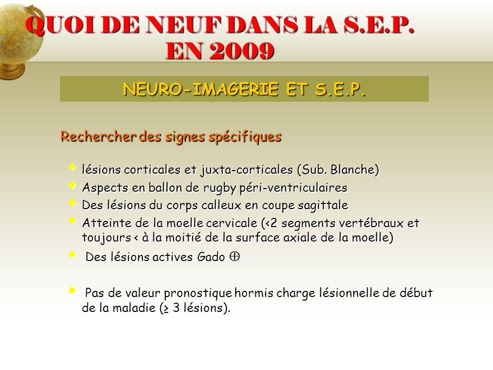 QUOI DE NEUF DANS LA S.E.P. EN 2009