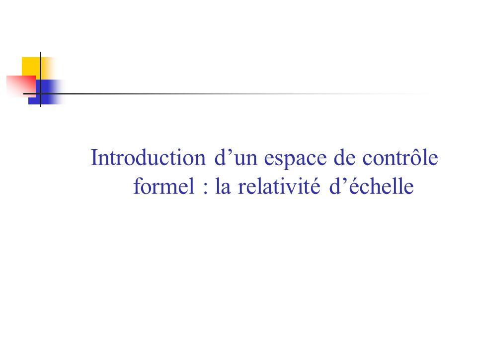 Introduction d'un espace de contrôle formel : la relativité d'échelle