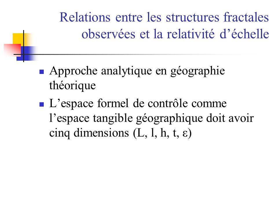 Relations entre les structures fractales observées et la relativité d'échelle
