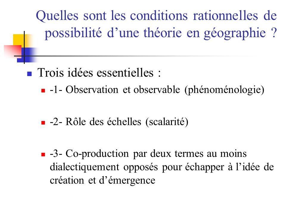 Quelles sont les conditions rationnelles de possibilité d'une théorie en géographie