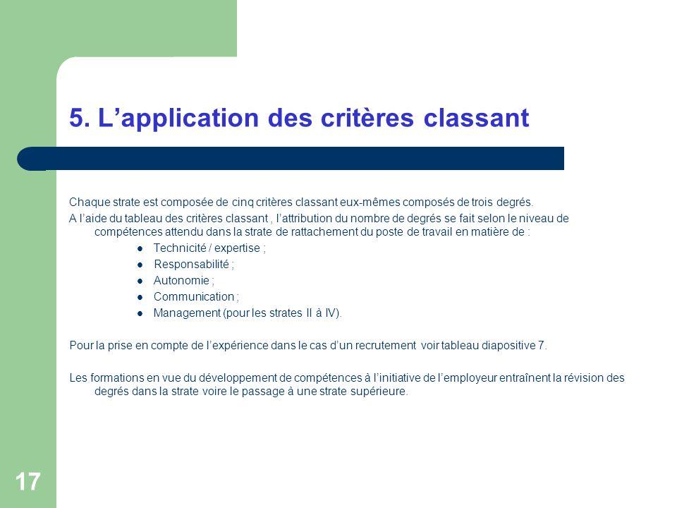 5. L'application des critères classant
