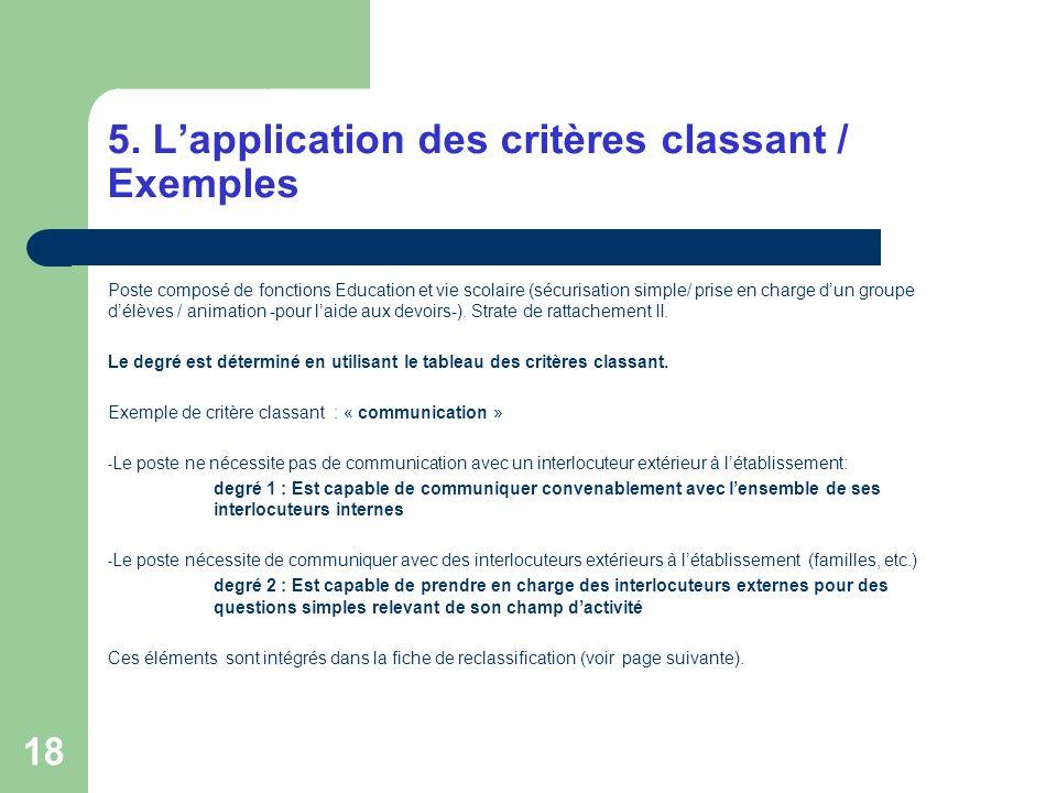 5. L'application des critères classant / Exemples