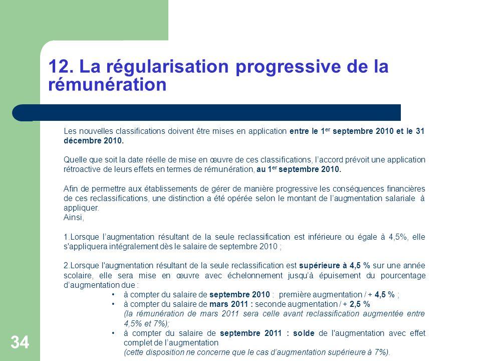 12. La régularisation progressive de la rémunération