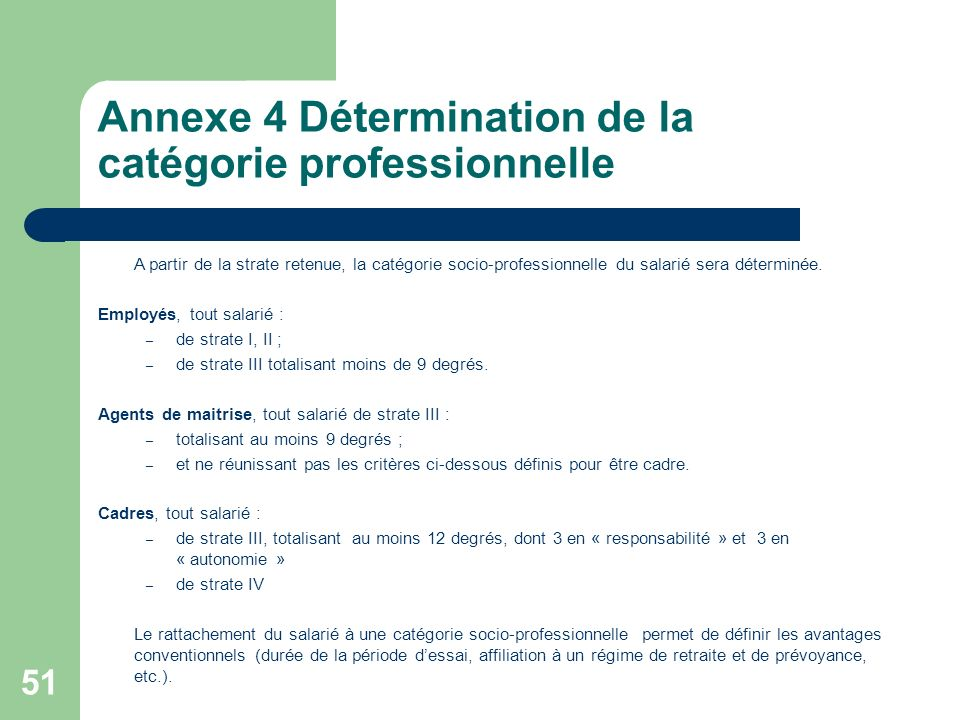 Annexe 4 Détermination de la catégorie professionnelle