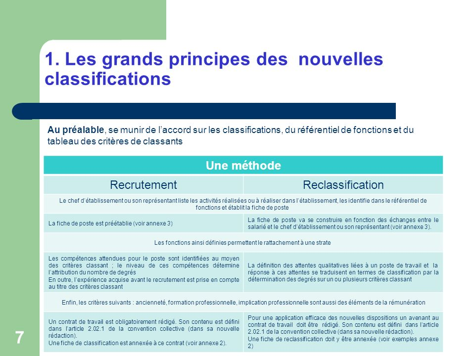 1. Les grands principes des nouvelles classifications