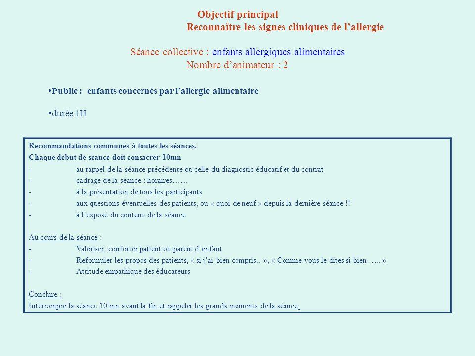 Objectif principal Reconnaître les signes cliniques de l'allergie Séance collective : enfants allergiques alimentaires Nombre d'animateur : 2