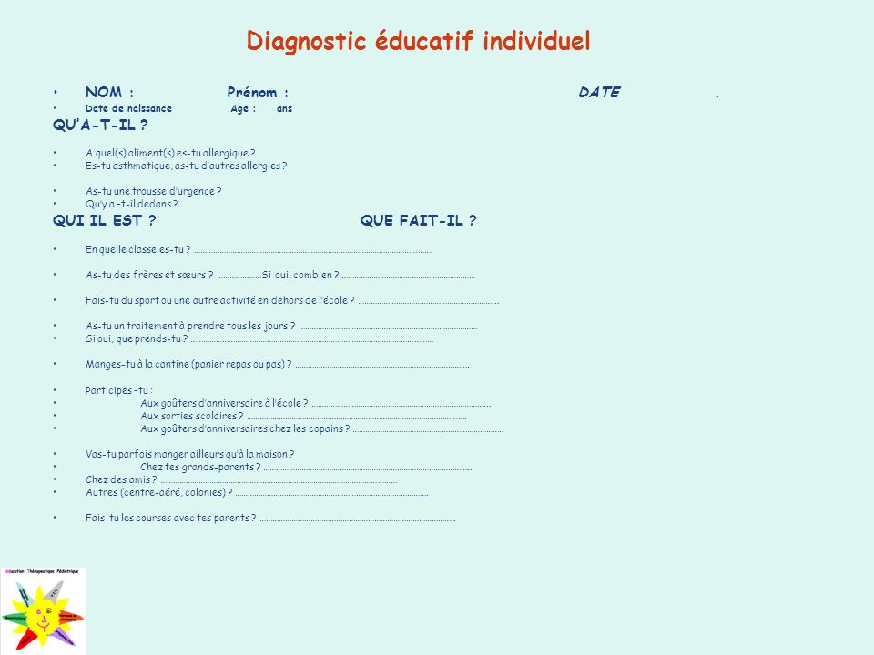 Diagnostic éducatif individuel