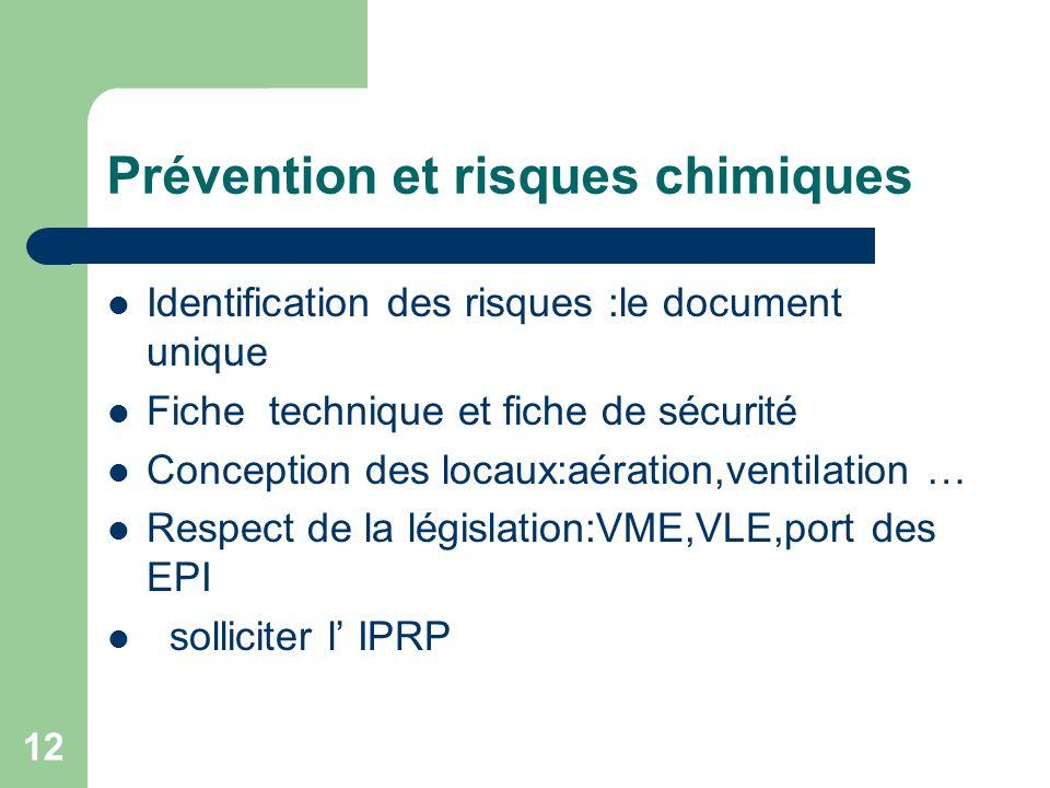 Prévention et risques chimiques