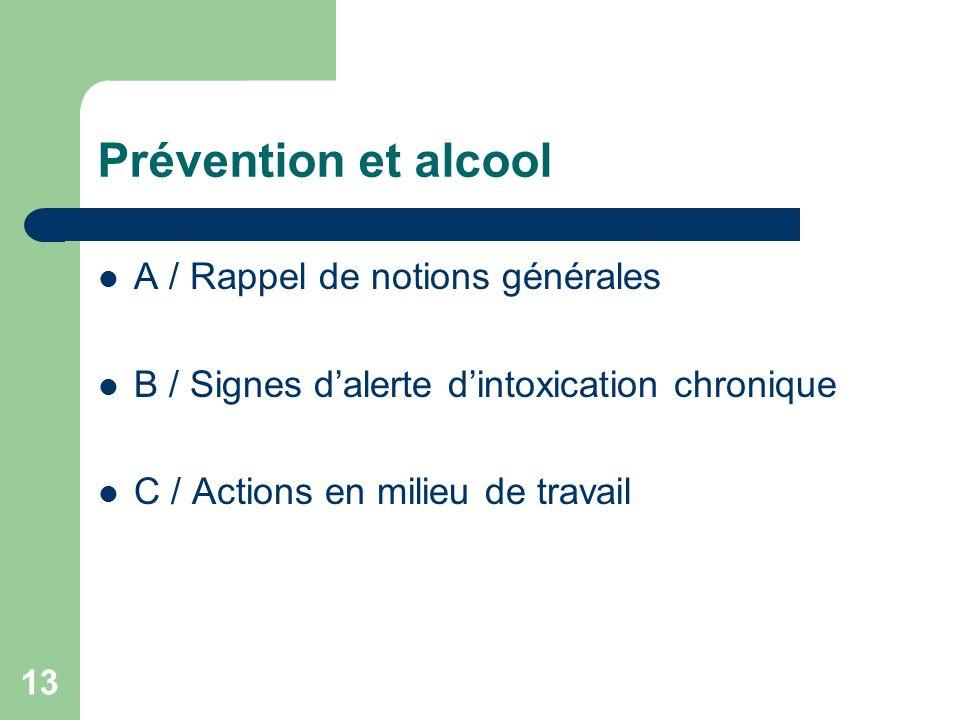 Prévention et alcool A / Rappel de notions générales