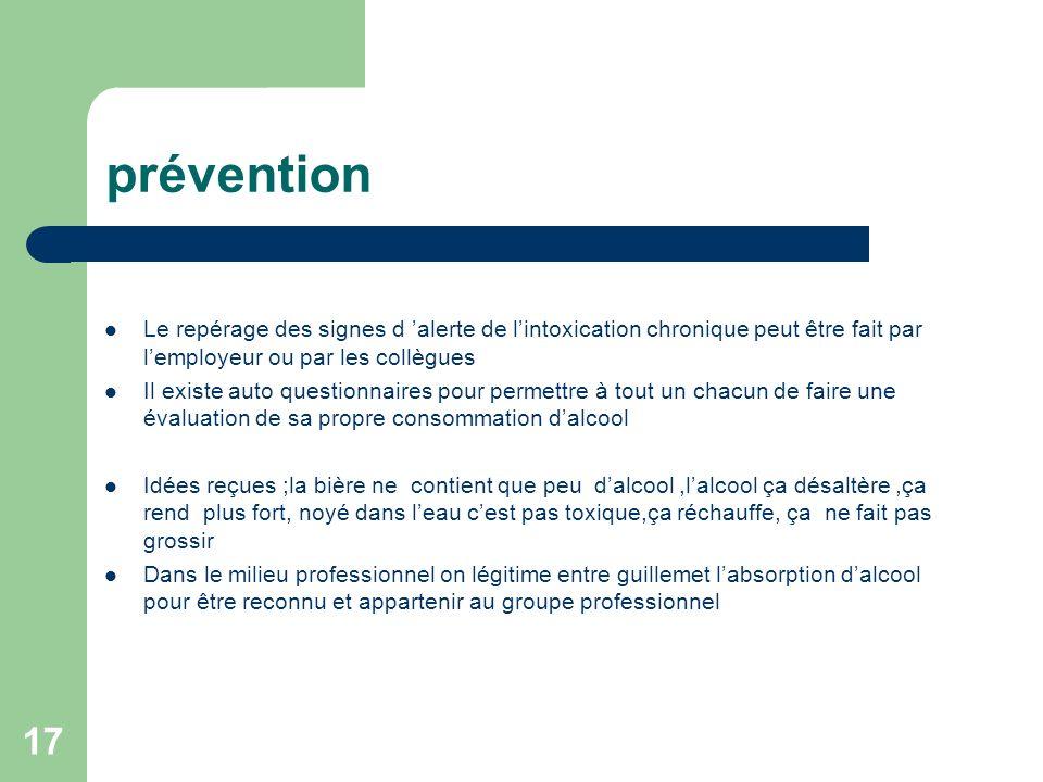 prévention Le repérage des signes d 'alerte de l'intoxication chronique peut être fait par l'employeur ou par les collègues.