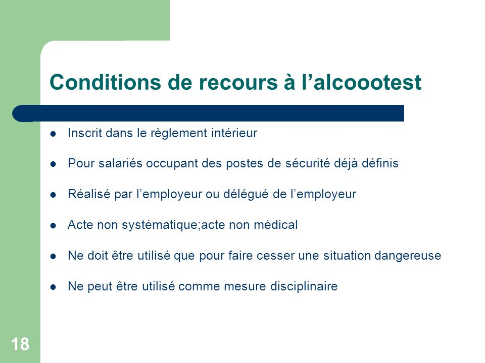 Conditions de recours à l'alcoootest