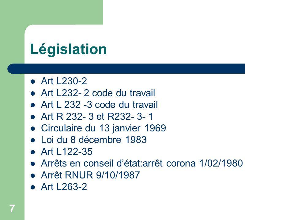 Législation Art L230-2 Art L232- 2 code du travail