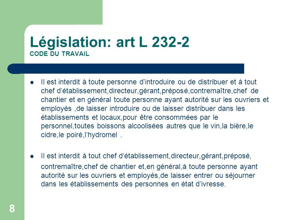 Législation: art L 232-2 CODE DU TRAVAIL