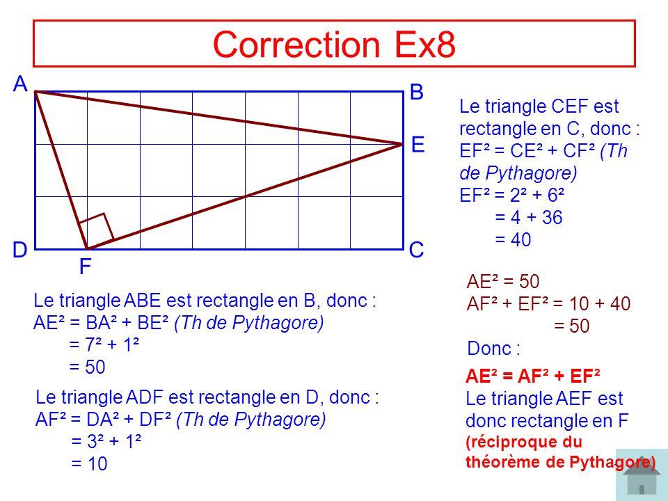 Correction Ex8 A B E D C F Le triangle CEF est rectangle en C, donc :