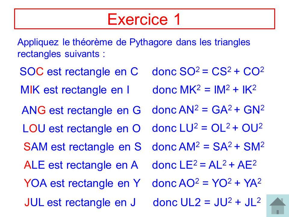 Exercice 1 SOC est rectangle en C donc SO2 = CS2 + CO2