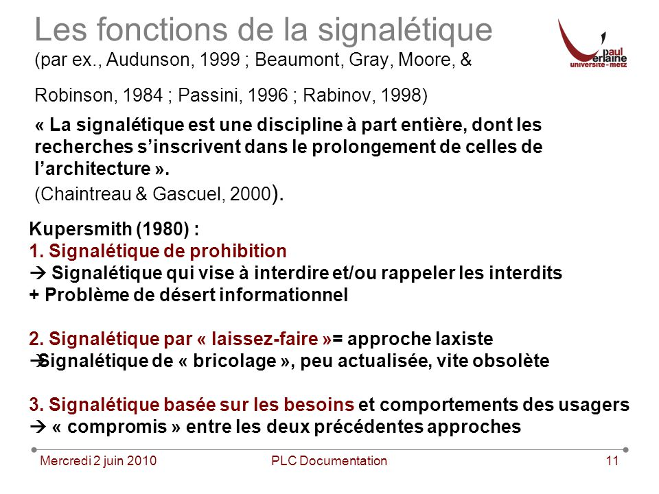 Les fonctions de la signalétique (par ex