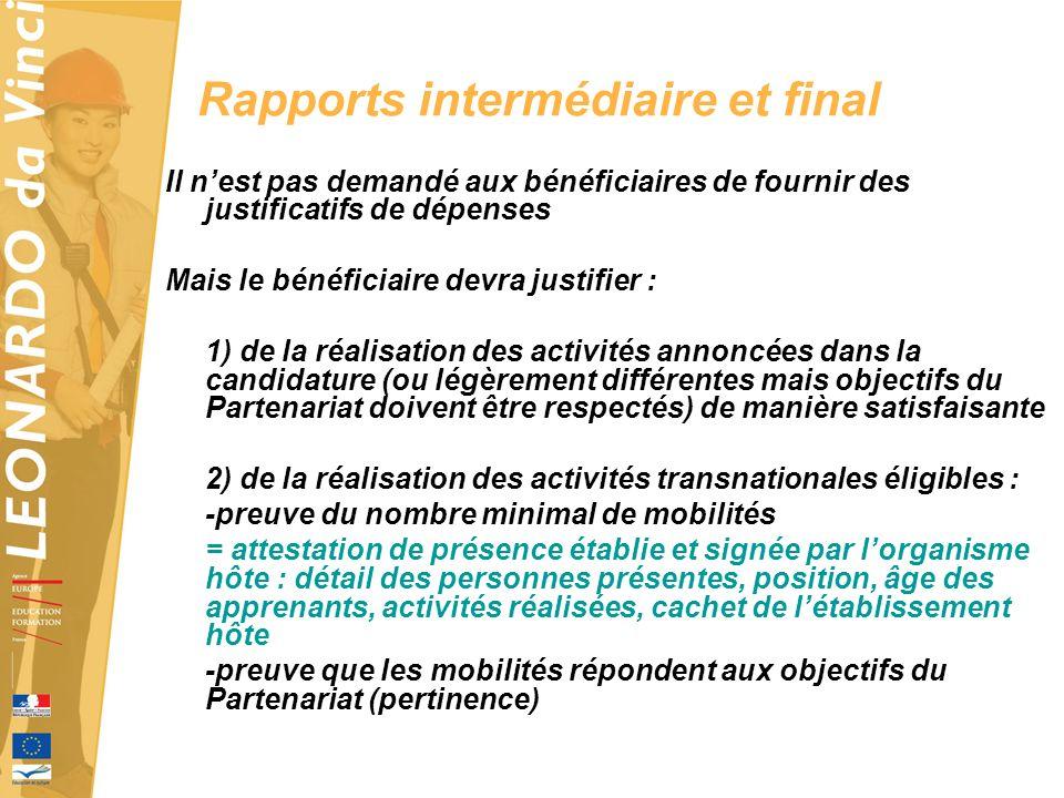 Rapports intermédiaire et final