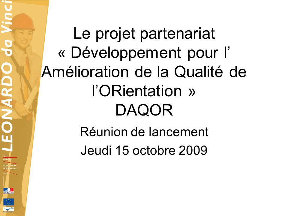 Réunion de lancement Jeudi 15 octobre 2009