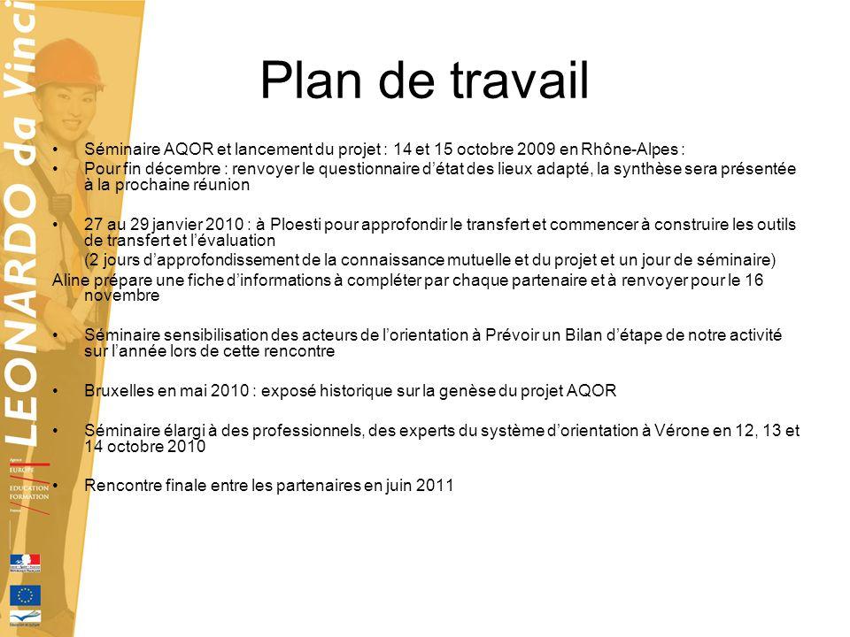 Plan de travail Séminaire AQOR et lancement du projet : 14 et 15 octobre 2009 en Rhône-Alpes :