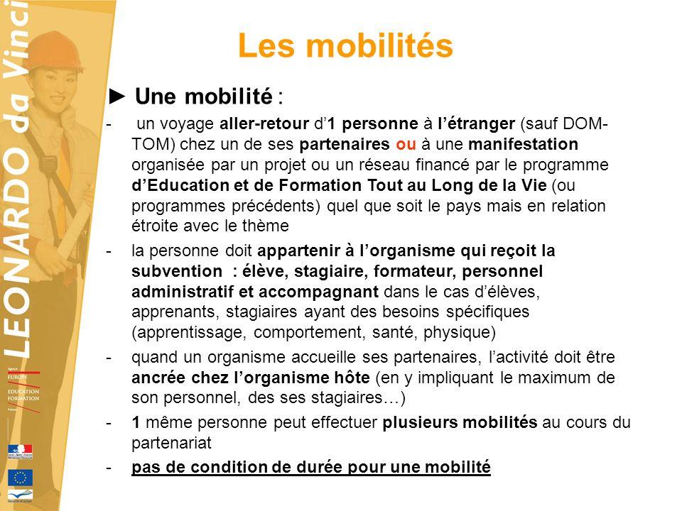 Les mobilités ► Une mobilité :