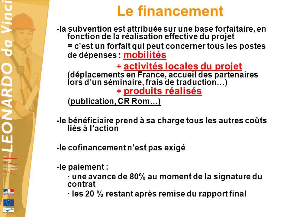 Le financement -la subvention est attribuée sur une base forfaitaire, en fonction de la réalisation effective du projet.