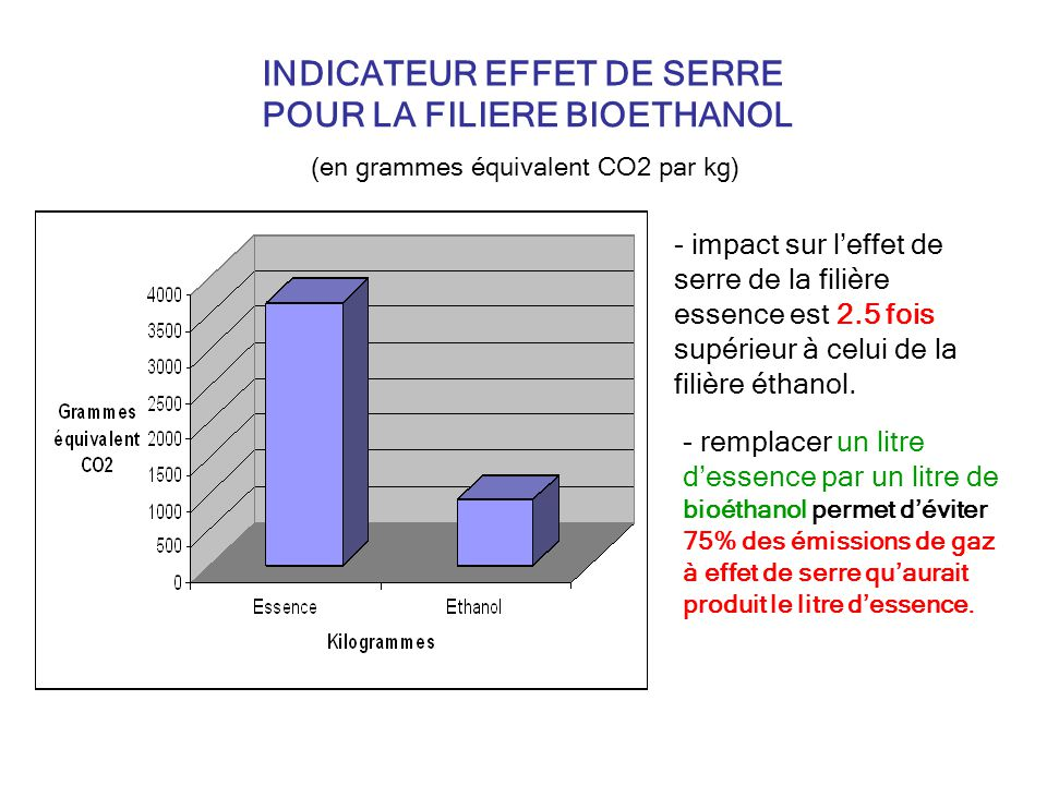 INDICATEUR EFFET DE SERRE POUR LA FILIERE BIOETHANOL
