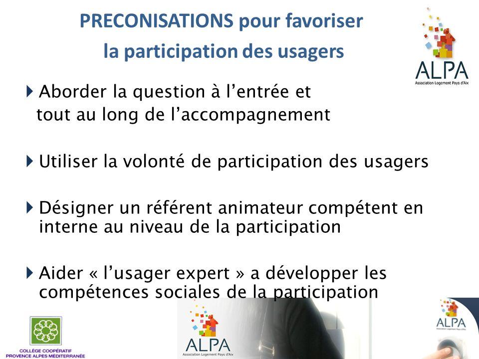 PRECONISATIONS pour favoriser la participation des usagers