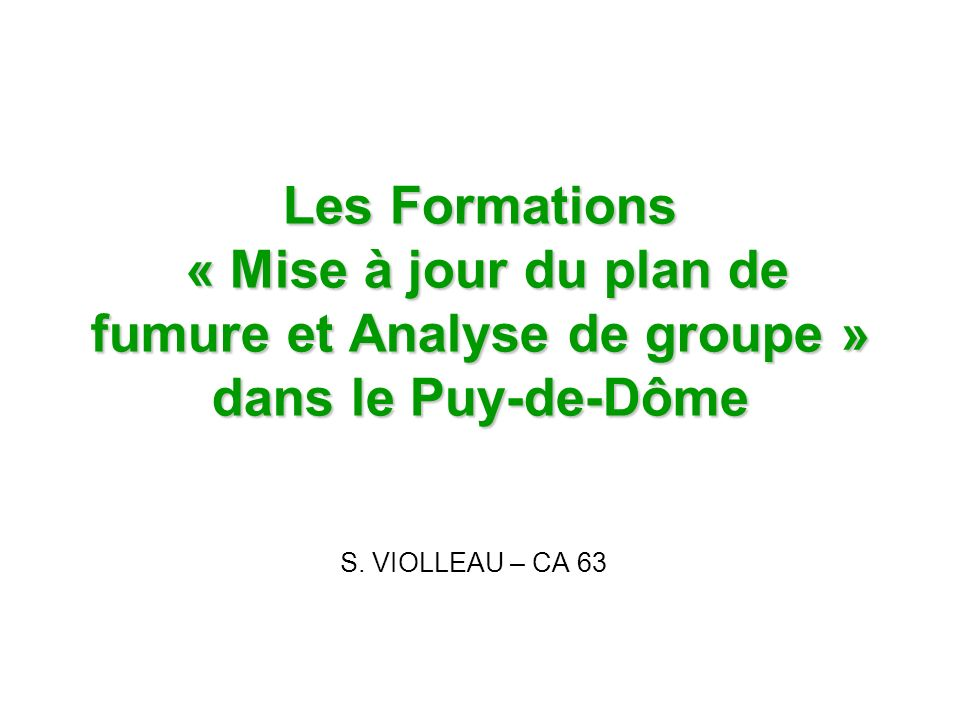 Les Formations « Mise à jour du plan de fumure et Analyse de groupe » dans le Puy-de-Dôme