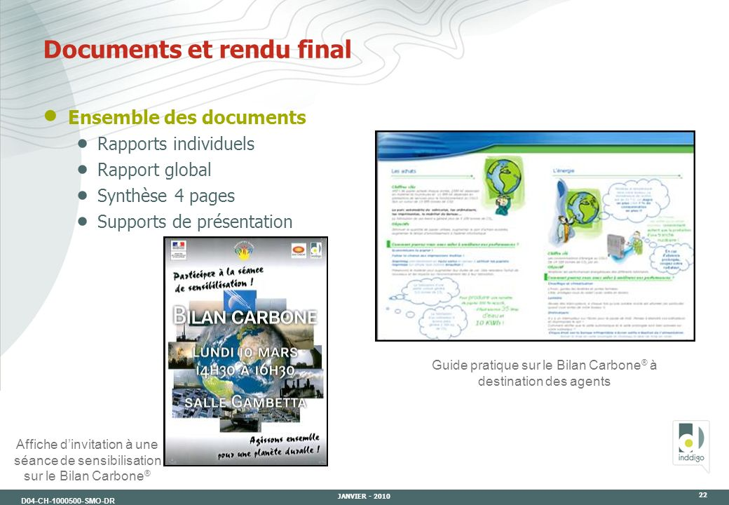 Documents et rendu final