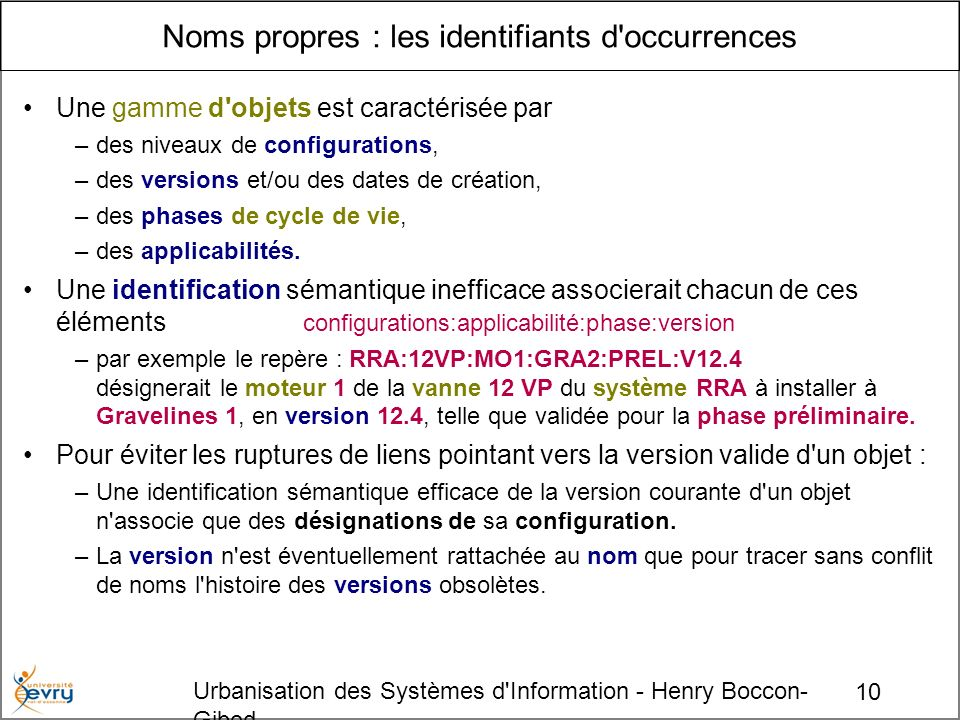 Noms propres : les identifiants d occurrences