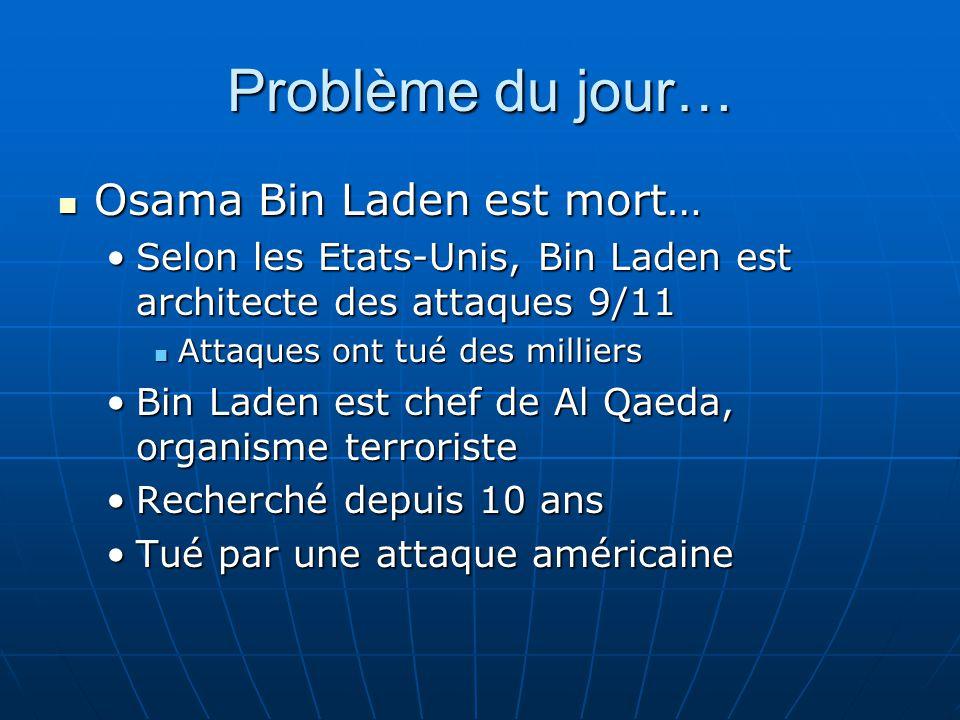 Problème du jour… Osama Bin Laden est mort…