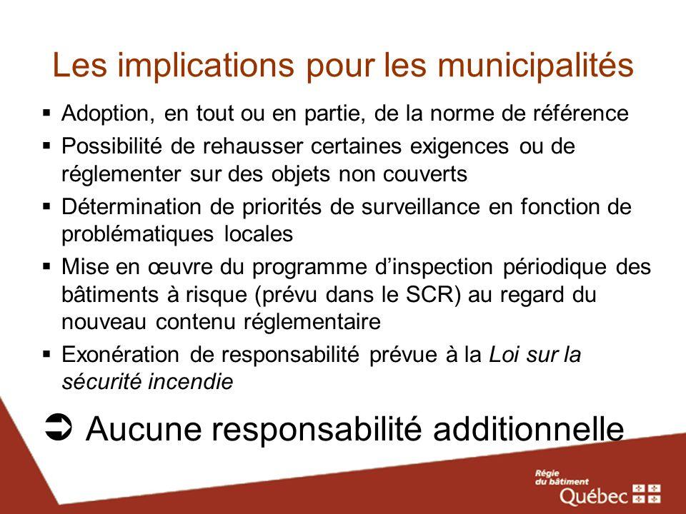 Les implications pour les municipalités