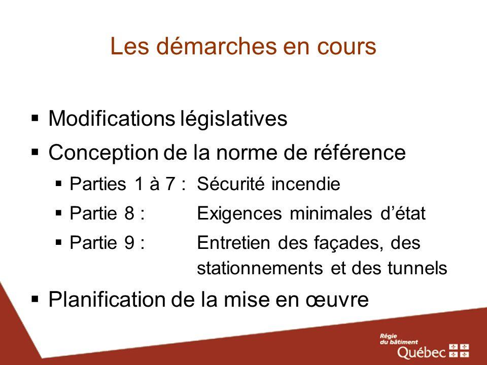 Les démarches en cours Modifications législatives