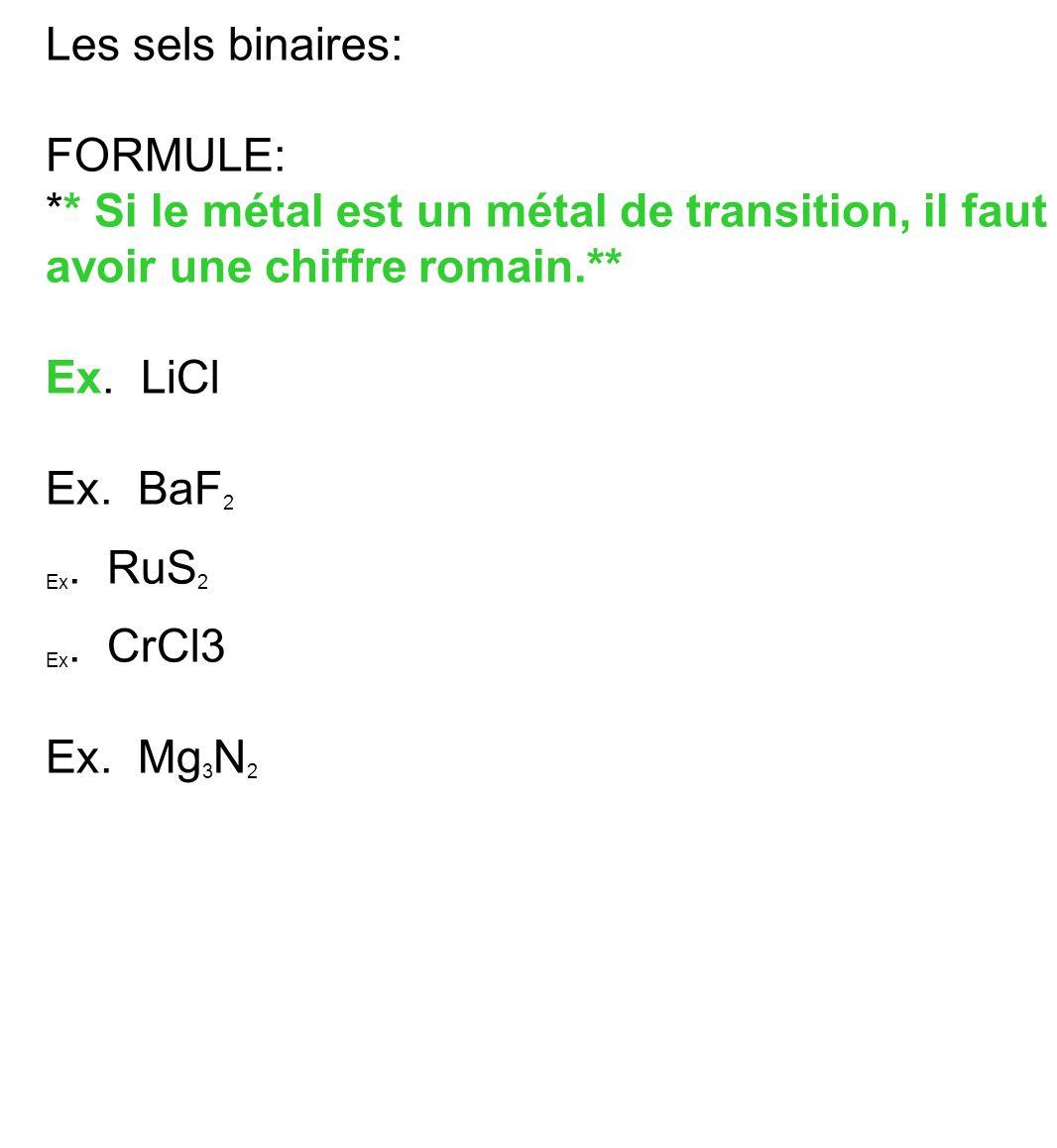 Les sels binaires: FORMULE: