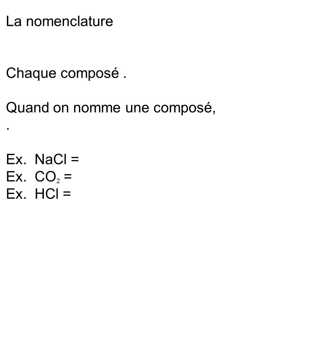 La nomenclature Chaque composé . Quand on nomme une composé, . Ex. NaCl = Ex. CO2 = Ex. HCl =