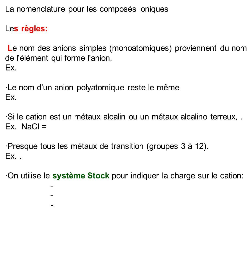 La nomenclature pour les composés ioniques