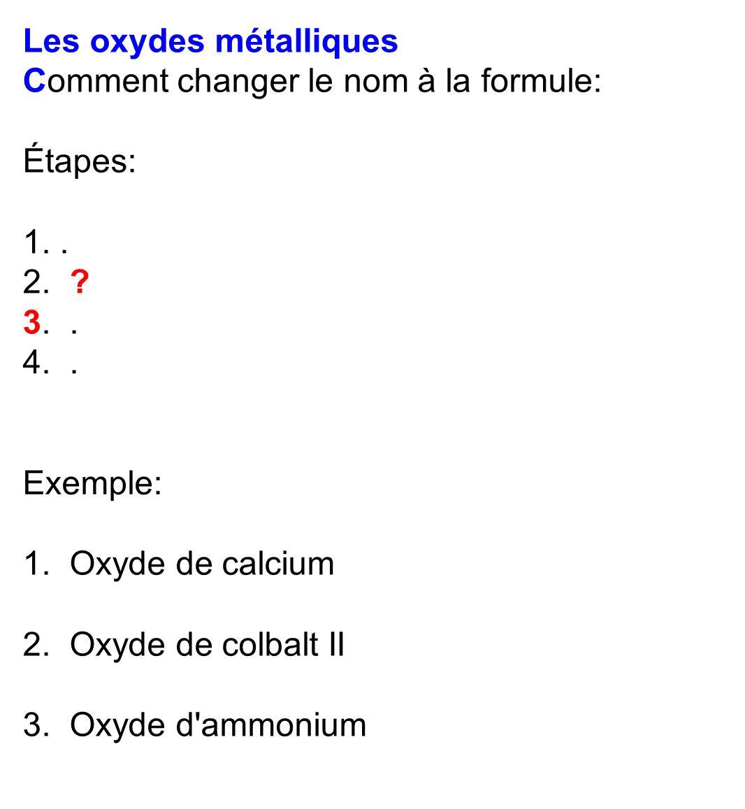 Les oxydes métalliques