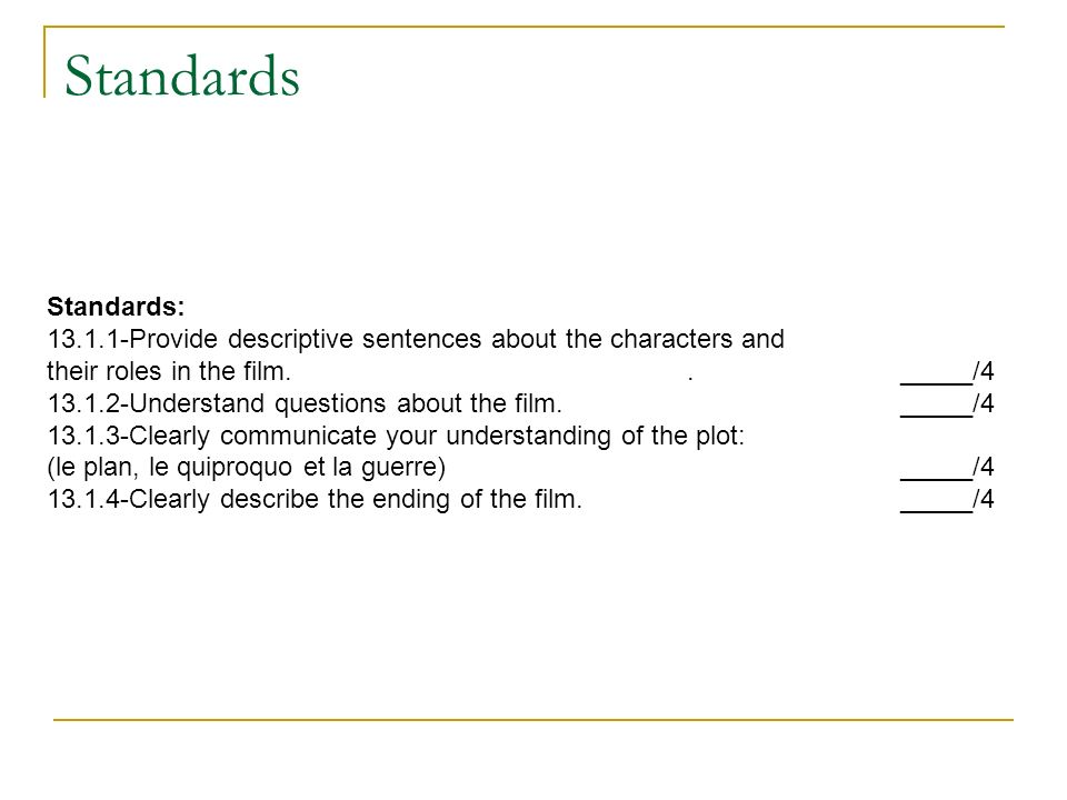 Standards Standards: 13.1.1-Provide descriptive sentences about the characters and. their roles in the film. . _____/4.