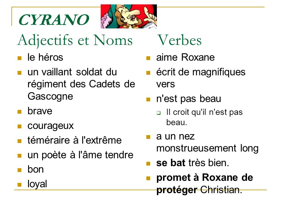 CYRANO Adjectifs et Noms Verbes