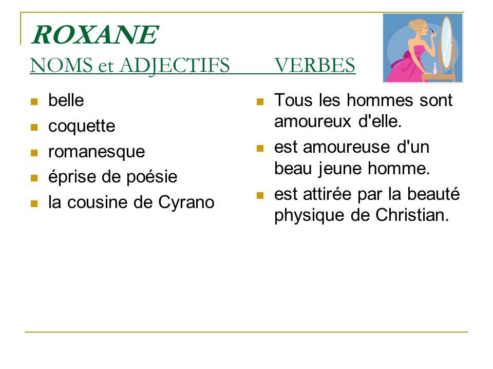 ROXANE NOMS et ADJECTIFS VERBES