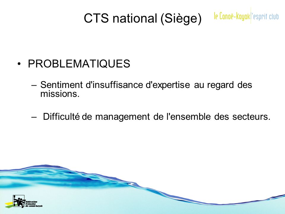 CTS national (Siège) PROBLEMATIQUES