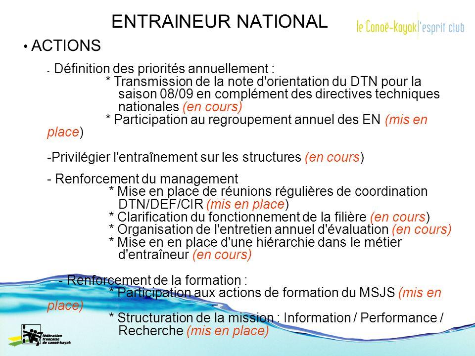 ENTRAINEUR NATIONAL ACTIONS