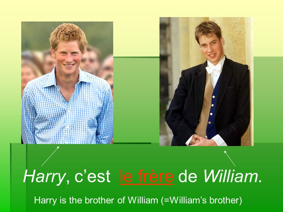 Harry, c'est le frère de William.