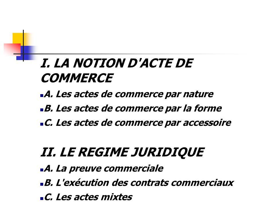 I. LA NOTION D ACTE DE COMMERCE