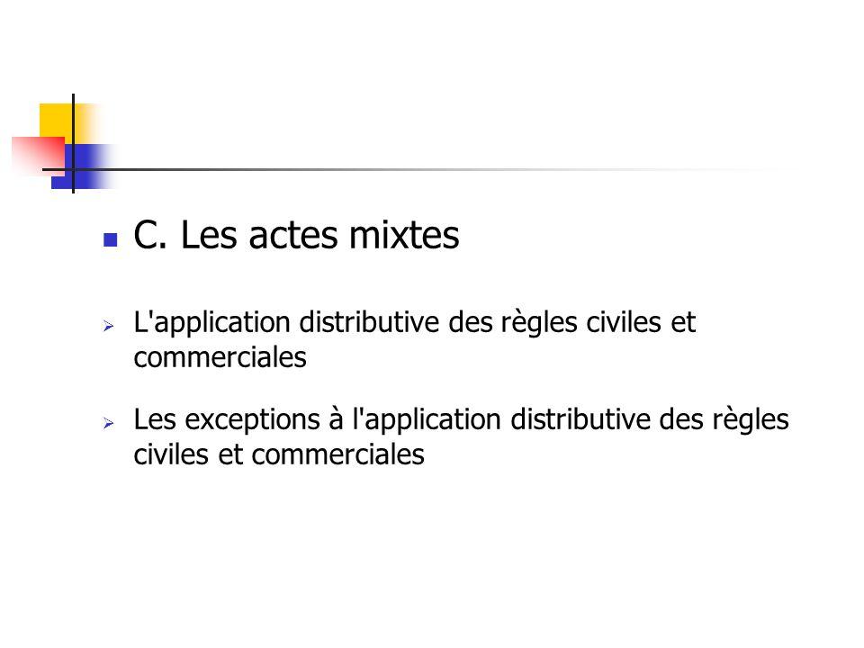 C. Les actes mixtes L application distributive des règles civiles et commerciales.
