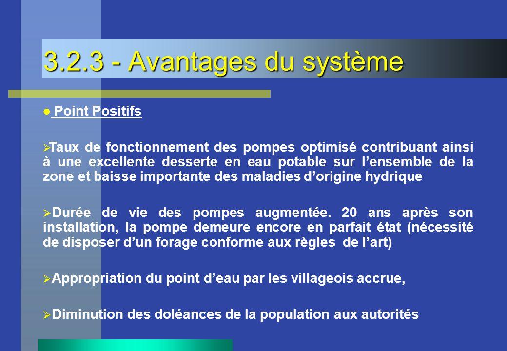 3.2.3 - Avantages du système Point Positifs.