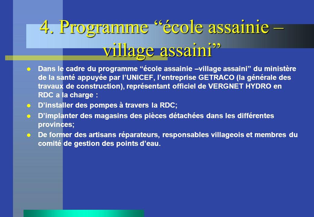 4. Programme école assainie – village assaini