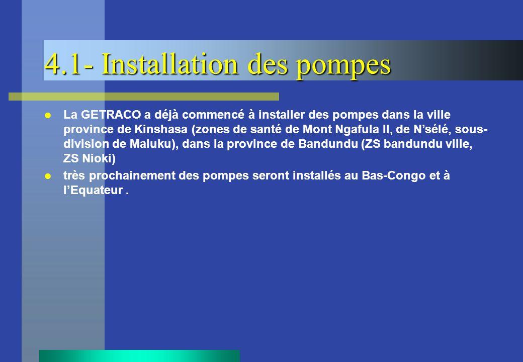 4.1- Installation des pompes