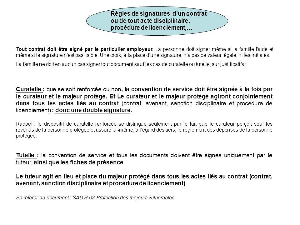Règles de signatures d'un contrat ou de tout acte disciplinaire,