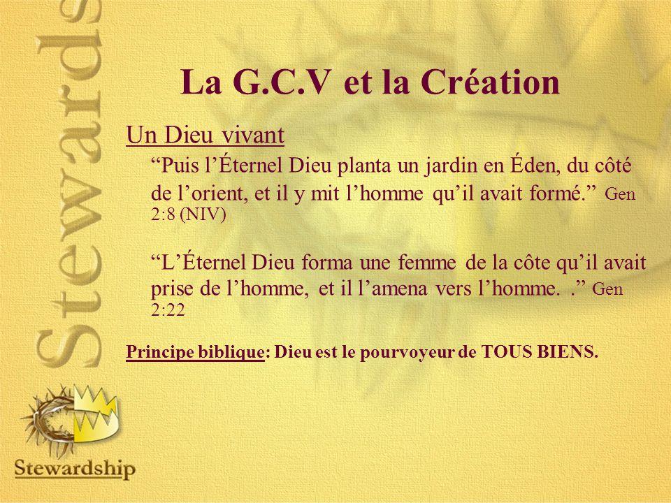 La G.C.V et la Création Un Dieu vivant.